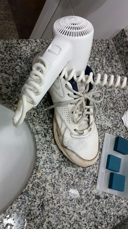 Drying the sneaker